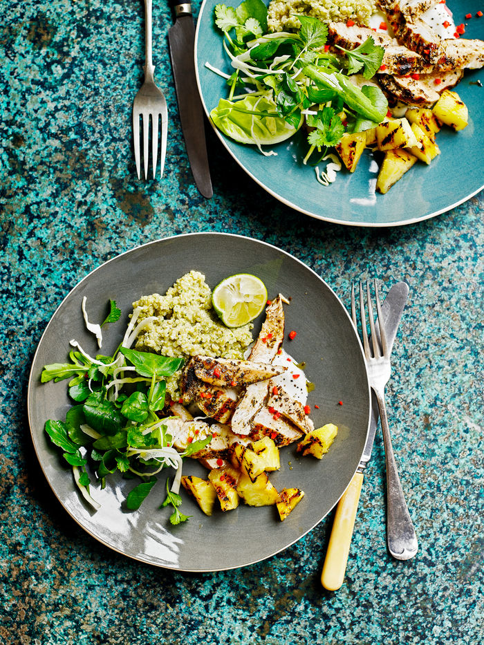 Grilled chicken with charred pineapple salad