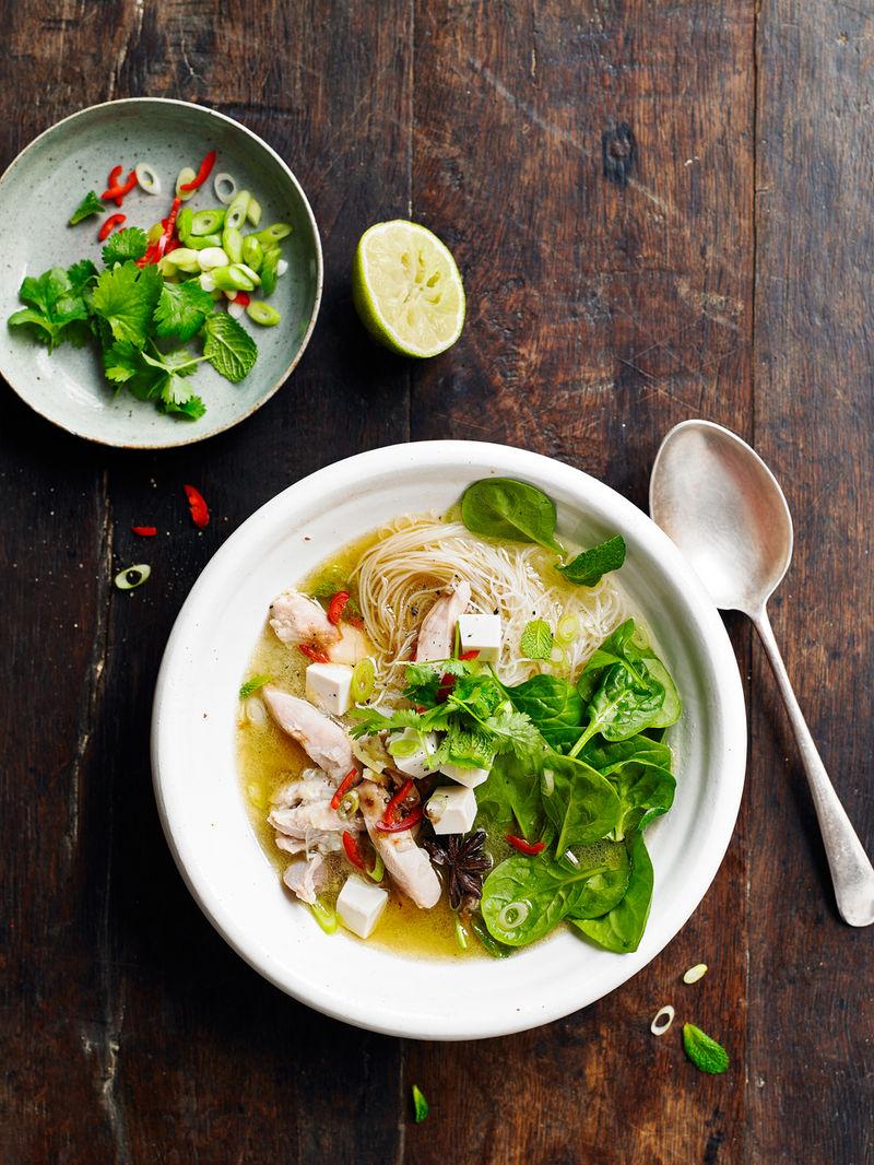 Chicken & tofu noodle soup