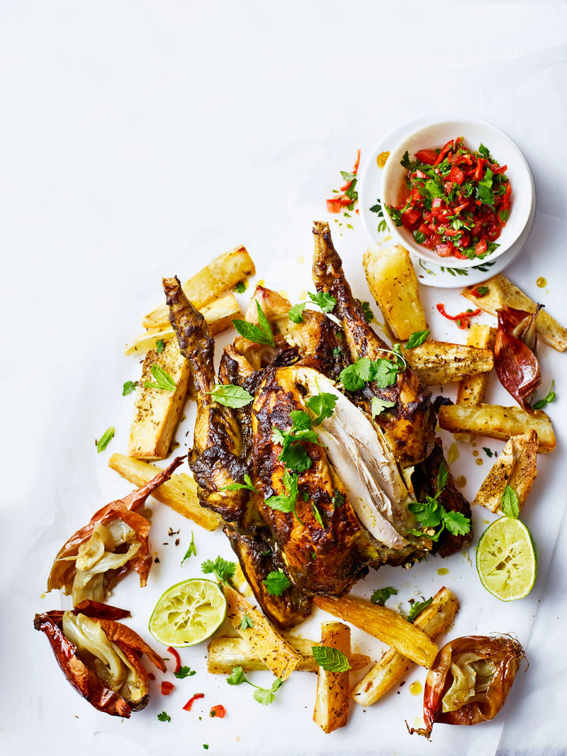 Cachaça roasted chicken with cassava chips