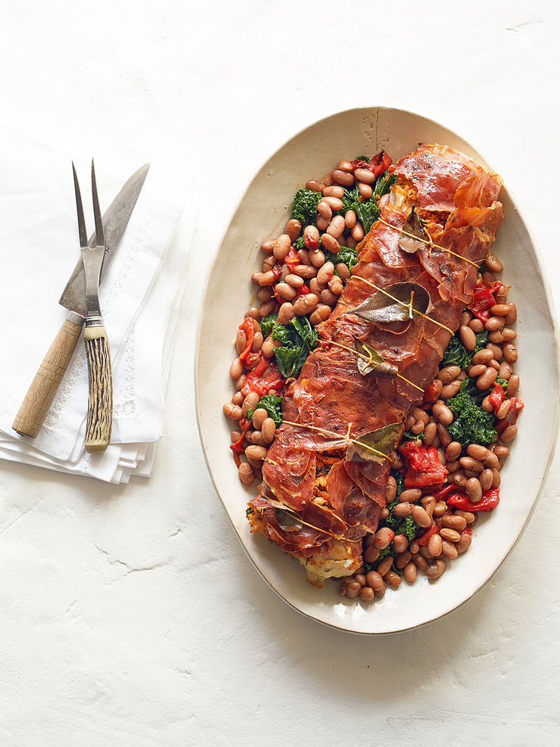 Jamon Wrapped Cod Borlotti Bean Stew Fish Recipes Jamie Oliver