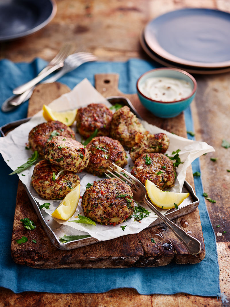 Smoked mackerel & red quinoa patties