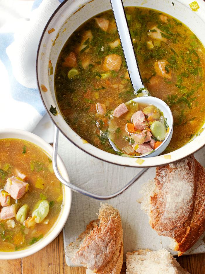 Broad bean, ham & mint soup