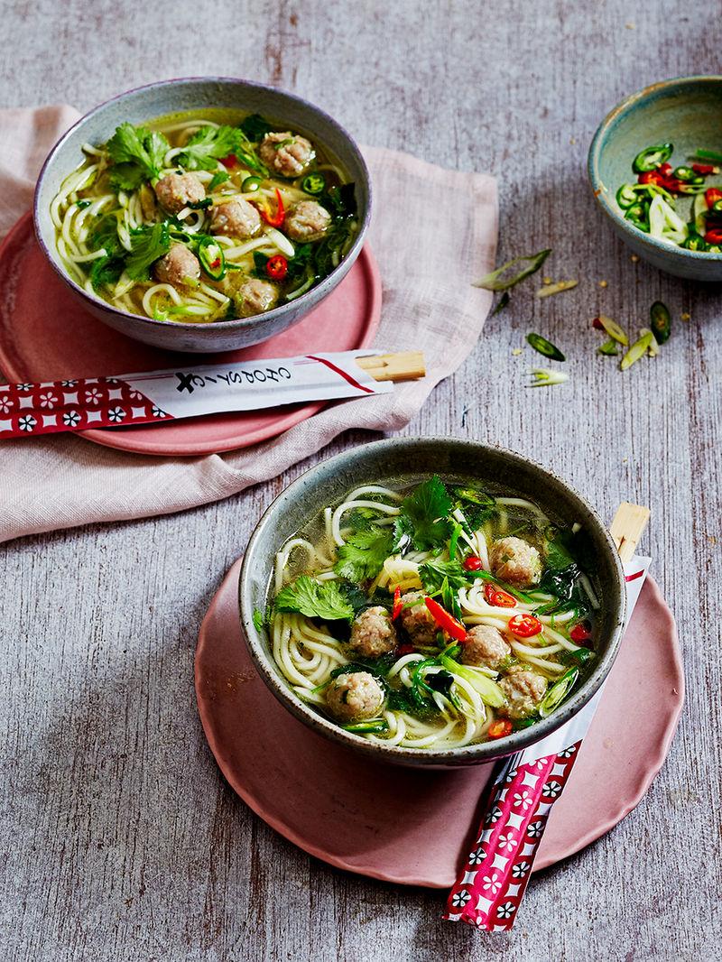Watercress & ginger pork balls noodle soup