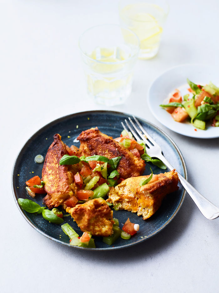 Leftover squash fritters with tomato salsa