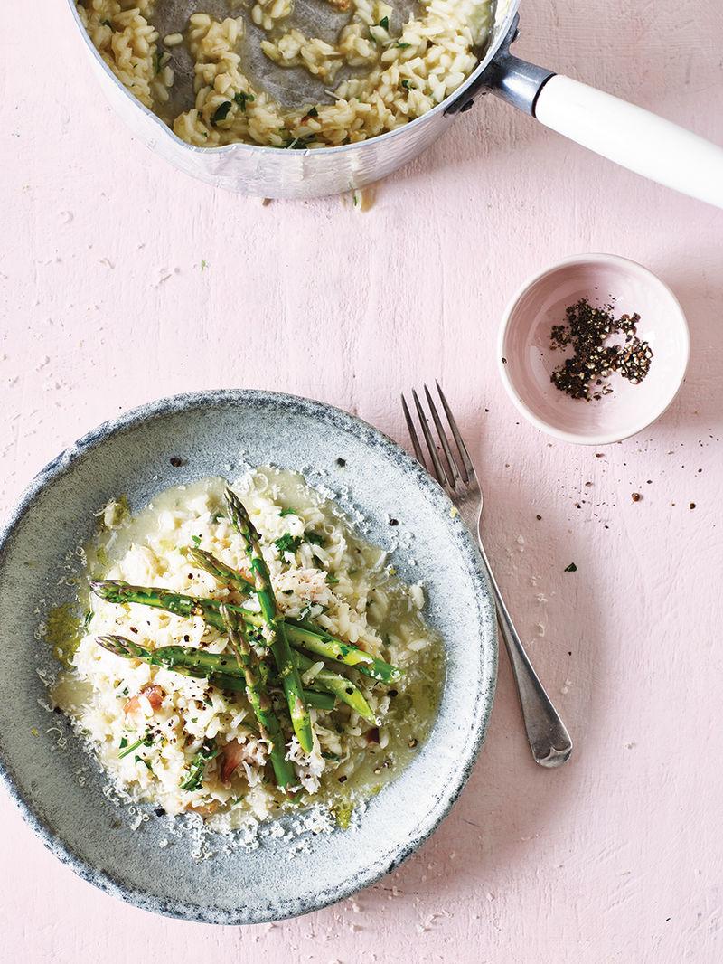 Crab & asparagus risotto