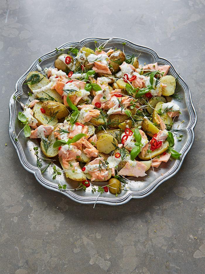 Warm salmon & Jersey Royal salad