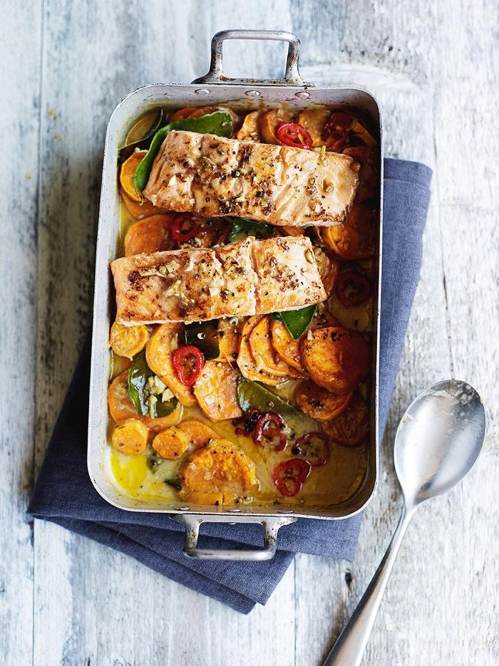 Asian salmon & sweet potato traybake
