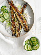 Miso-grilled aubergine & cucumber pickle rice bowl