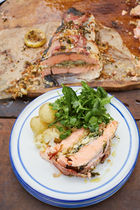 Roasted salmon & artichokes