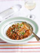 Tomato, red wine &chorizo risotto
