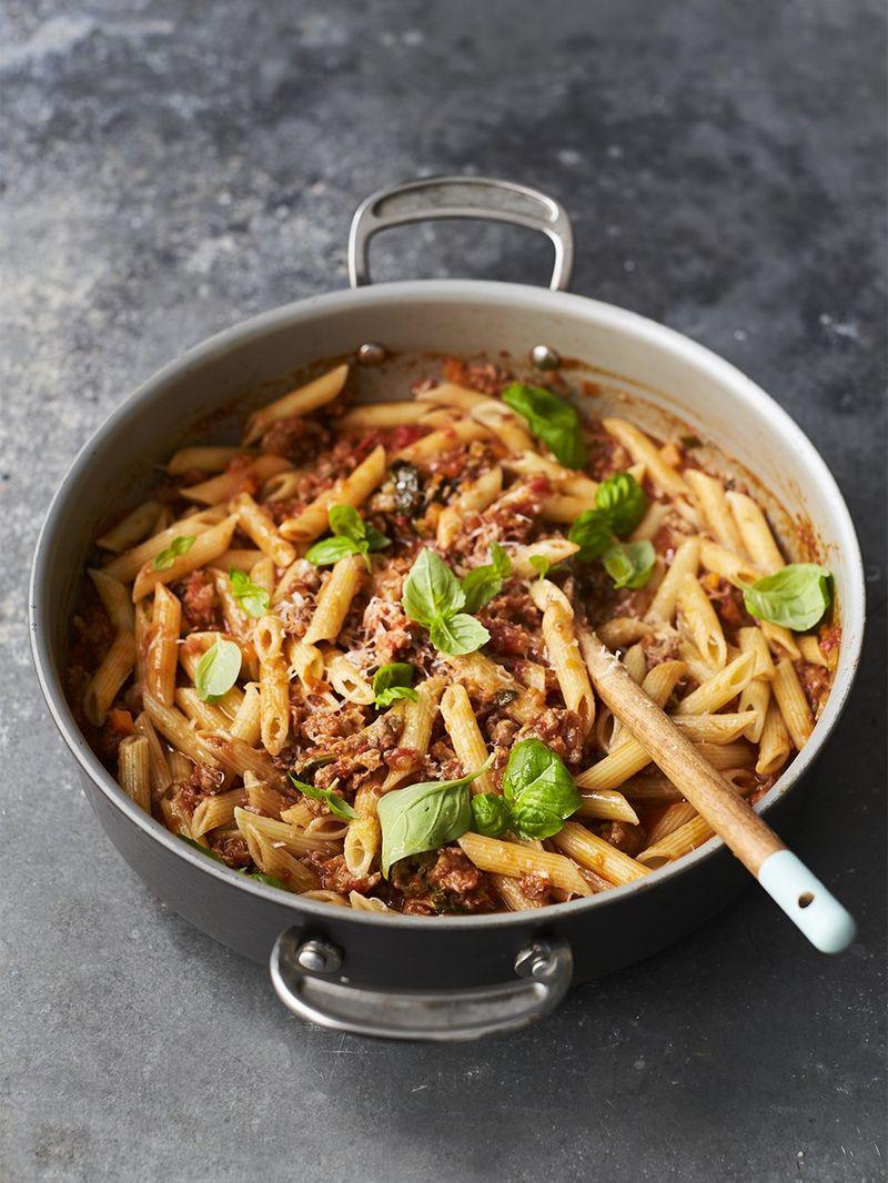 Sarah Millican's Tuscan sausage & tomato pasta