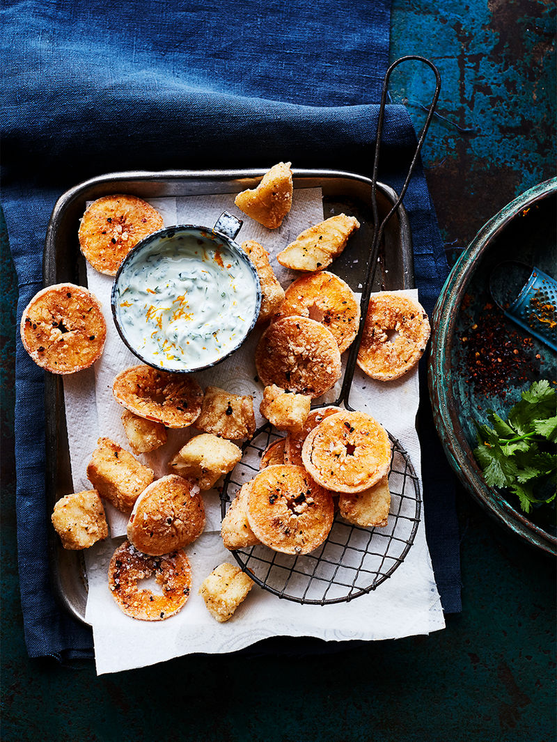 Chipotle-fried fish & clementine bites
