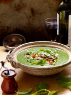 Watercress & mint soup with bacon shards