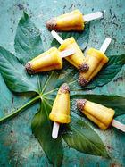 Mango pisco ice lollies with quinoa sugar