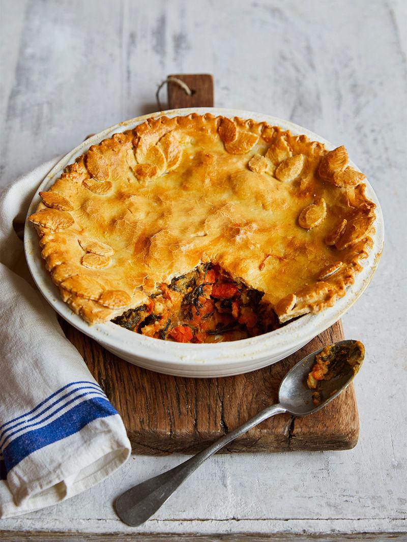 Gluten-free curried veg pie