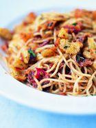 Spaghetti with anchovies, dried chilli & pangrattato
