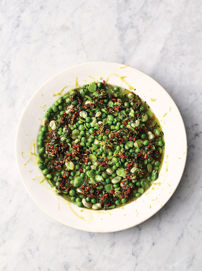 Peas, beans, chilli & mint