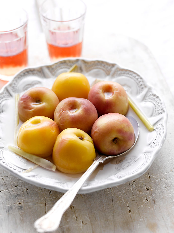 Poached peaches or apricots & lemongrass