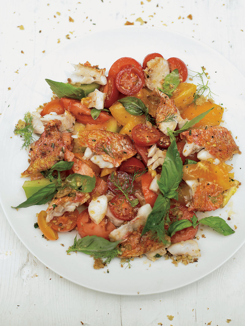 Pan-fried red mullet with crispy breadcrumbs & a herby tomato salad