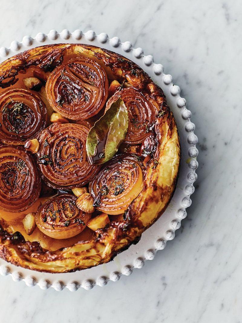 Sticky onion tart