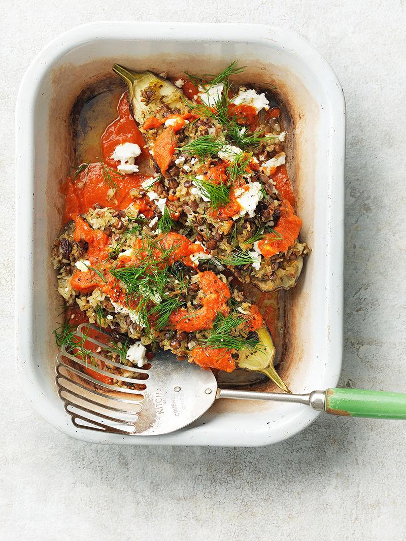 Rice & lentil-stuffed aubergines