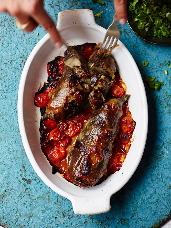 Whole roasted miso aubergine