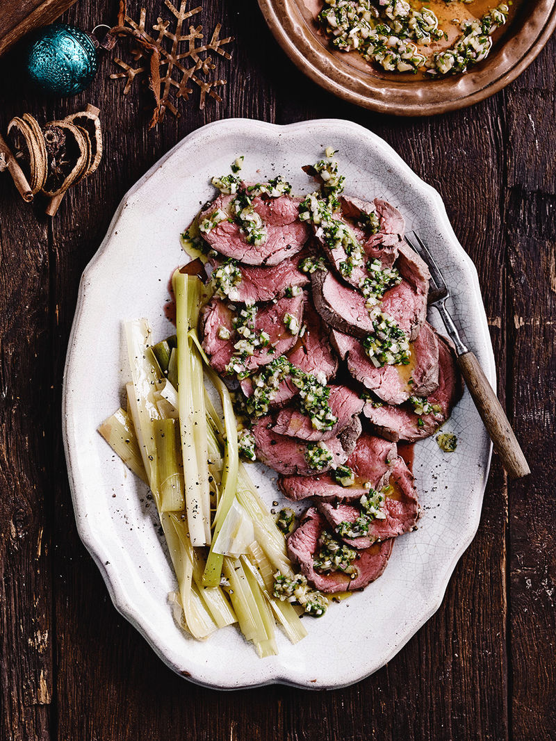 Poached beef with herb vinaigrette & leeks