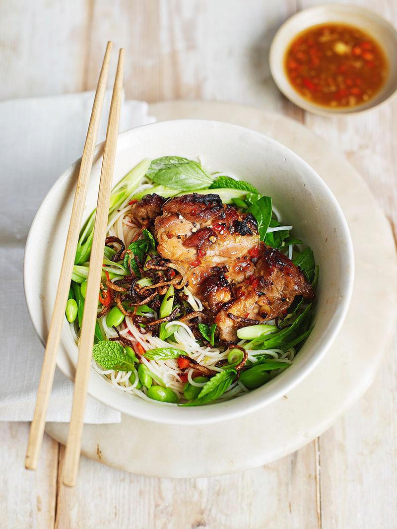 Chicken & spring green bun cha