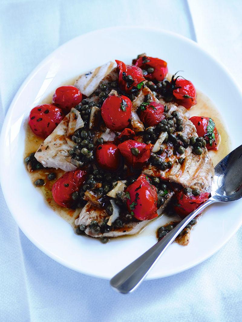 Swordfish, cherry tomatoes & capers
