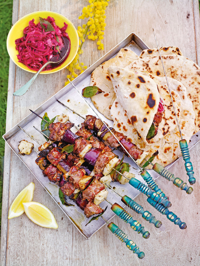 Saganaki lamb skewers with pickled cabbage