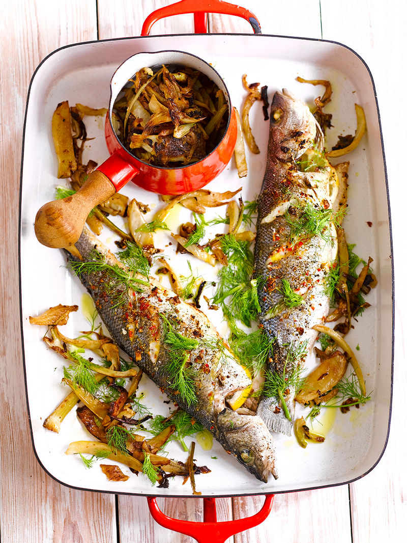 Spiced Sea Bass With Caramelised Fennel Fish Recipes Jamie Magazine Recipes