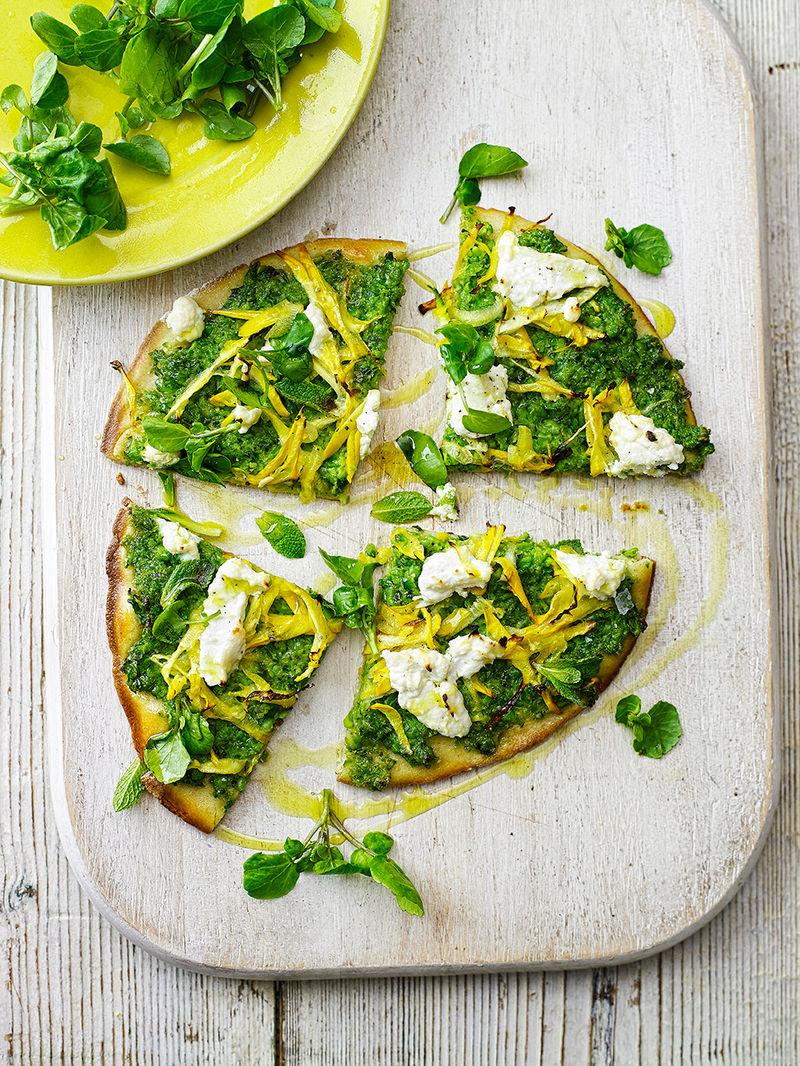 Gluten-free Spring flatbread pizzas