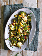 Roasted brassicas with puy lentils & halloumi