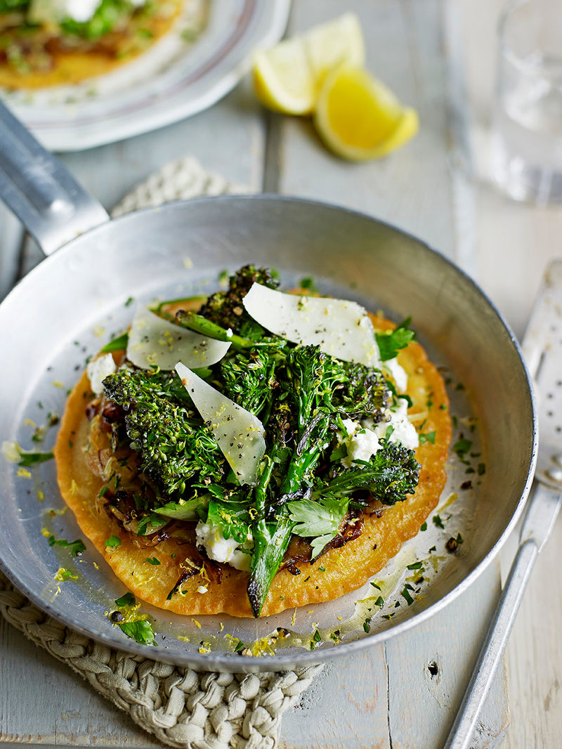Socca pancakes with broccoli & cheese
