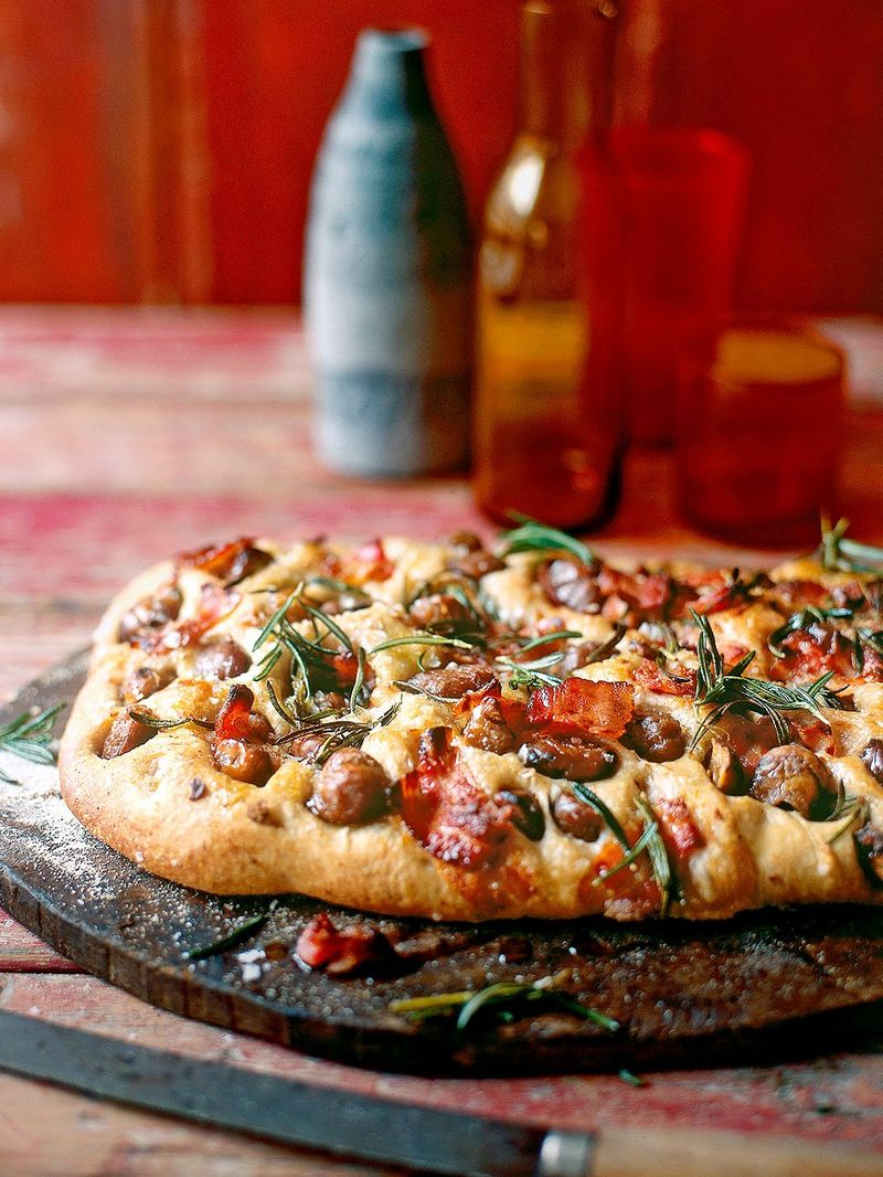 Chestnut Rosemary Pancetta Focaccia Bread Recipes Jamie Magazine