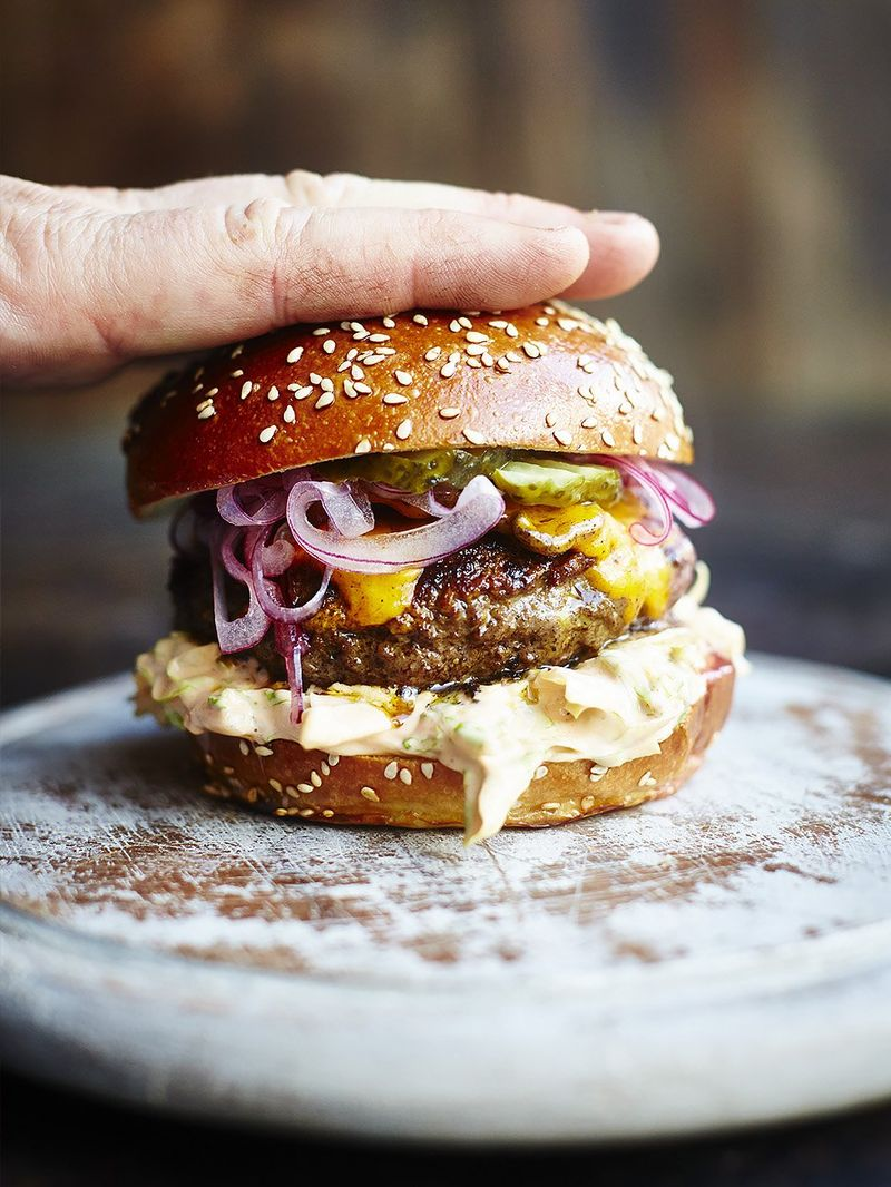 Spicy Beef Burger Recipe Jamie Oliver Burger Recipe
