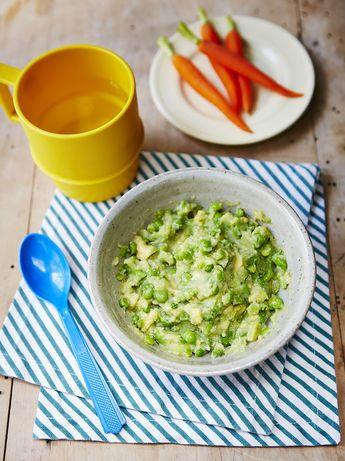 Helen's avocado & peas with mashed potato