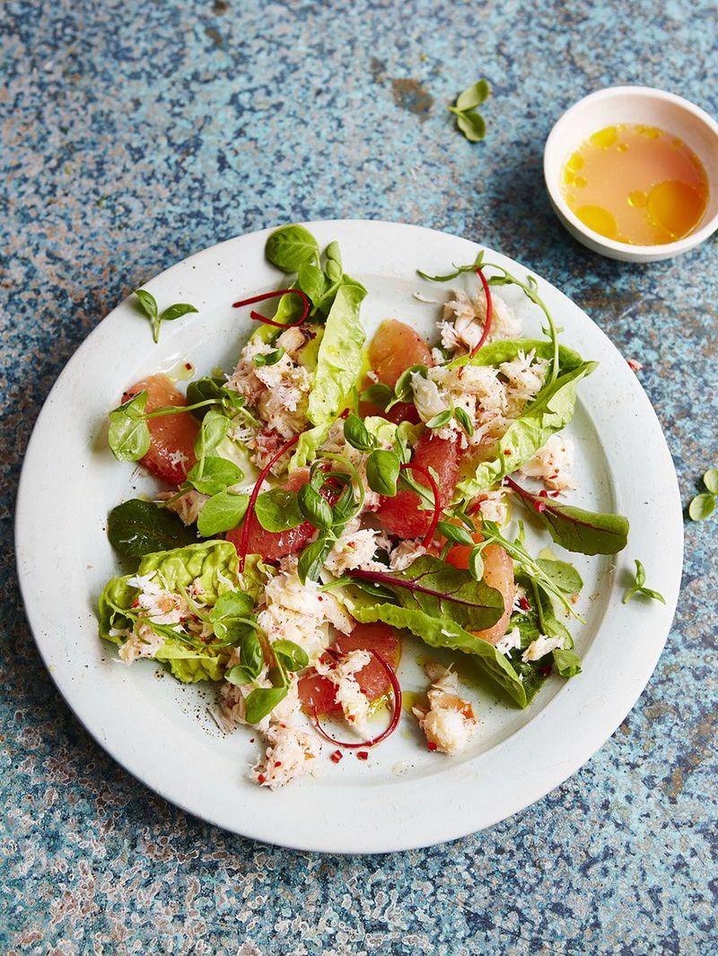 Crab, chilli & pink grapefruit salad