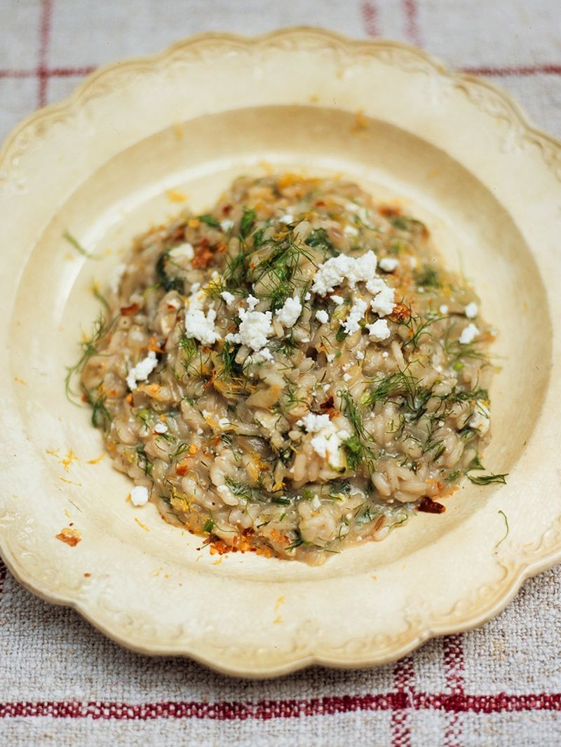 Fennel risotto with ricotta and dried chilli (Risotto ai finocchi con ricotta e peperoncino)