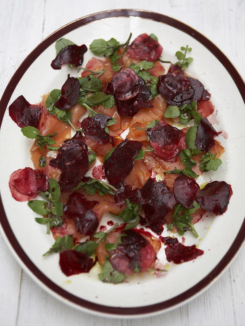Fresh smoked salmon and beetroot salad
