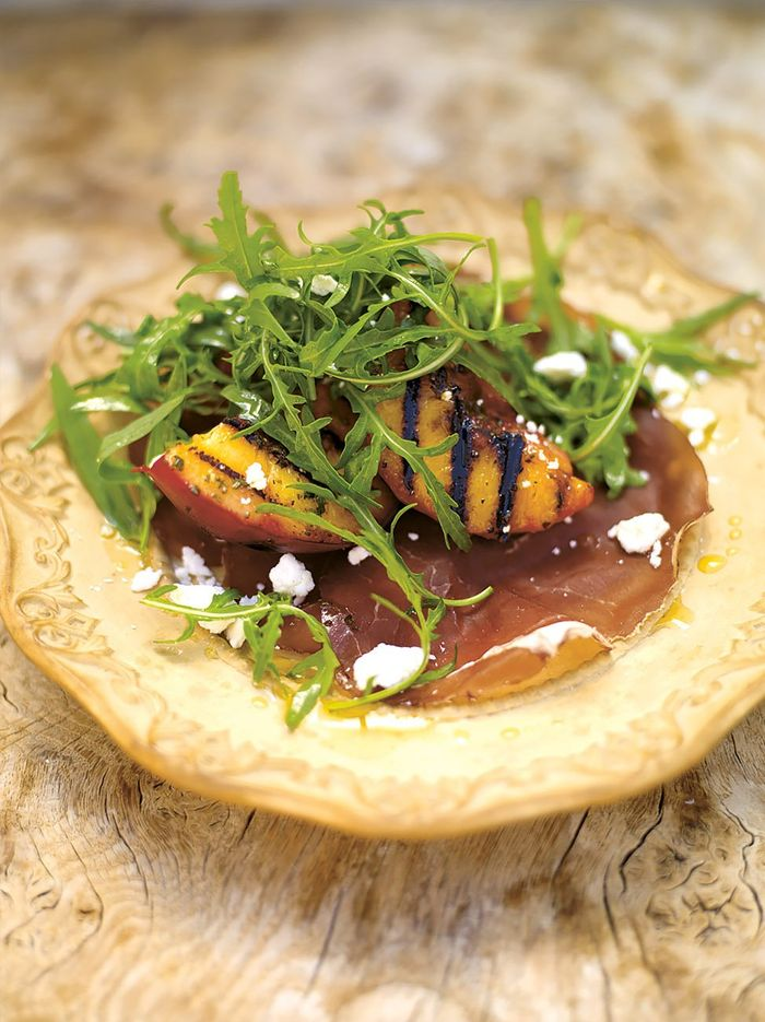 Grilled peach salad with bresaola & a creamy dressing