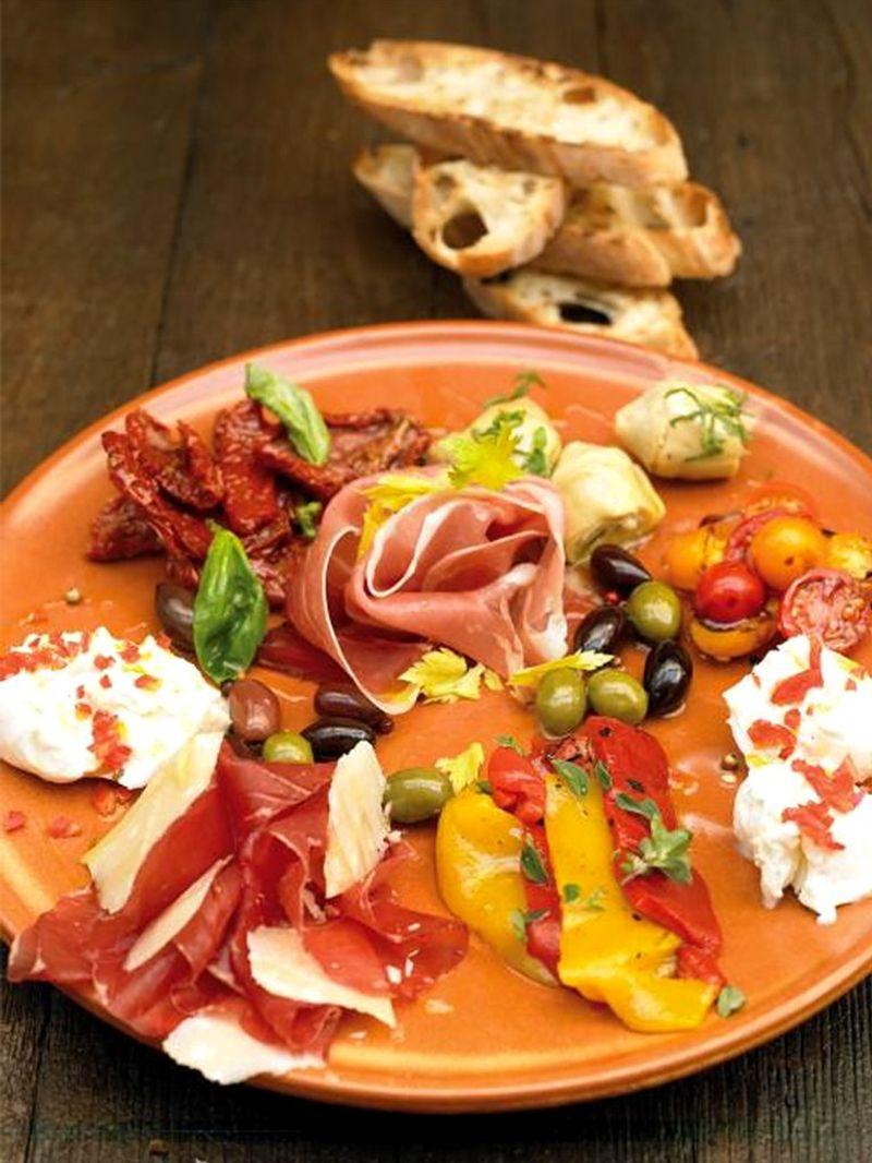 Italian-style antipasti plate