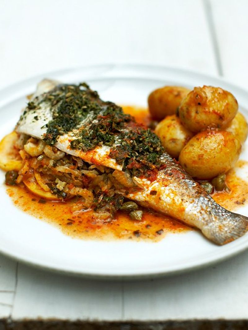 Stuffed Sea Bass Fish Recipes Jamie Oliver Recipes