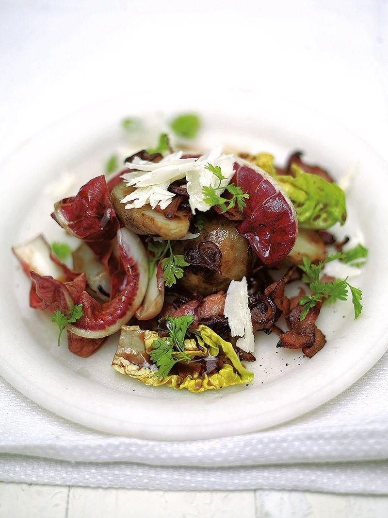 Warm salad of crispy smoked bacon & Jerusalem artichokes
