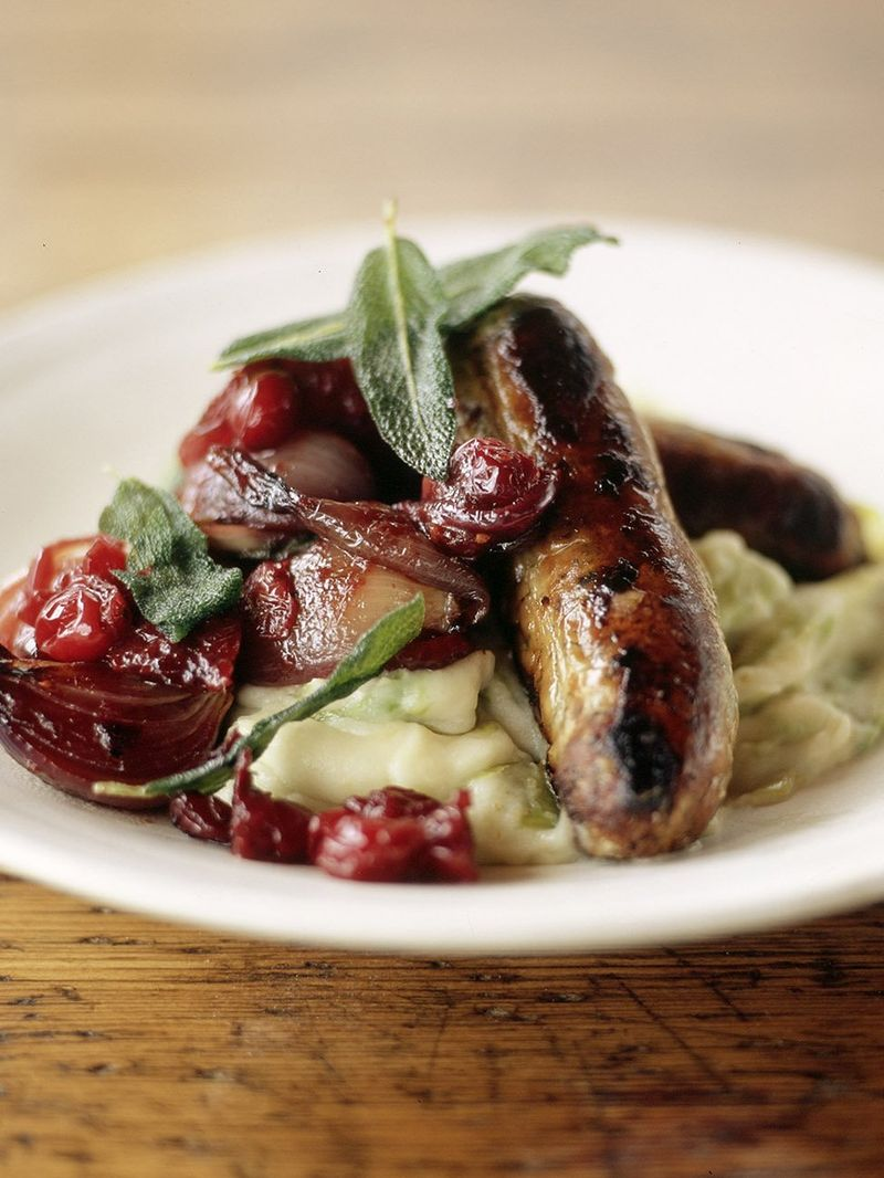 Sausages with pan cooked chutney and leek mash