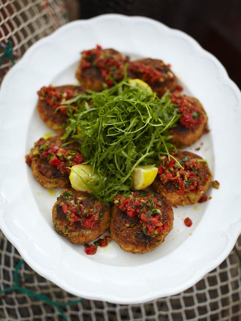 Beautiful homemade crab cakes with a hot blackened salsa
