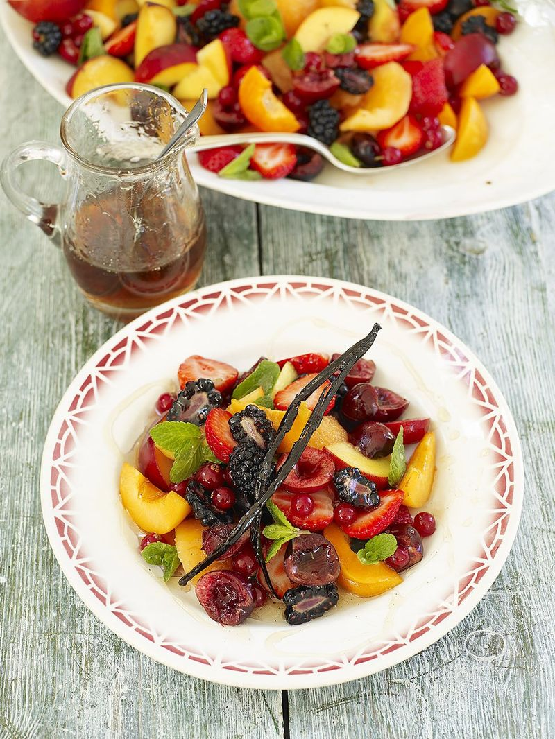 Summer fruit plate with lime, mint and vanilla syrup