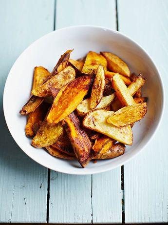 Smoky mixed-potato wedges