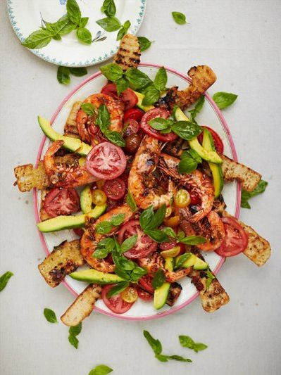 Sticky barbecued prawn salad