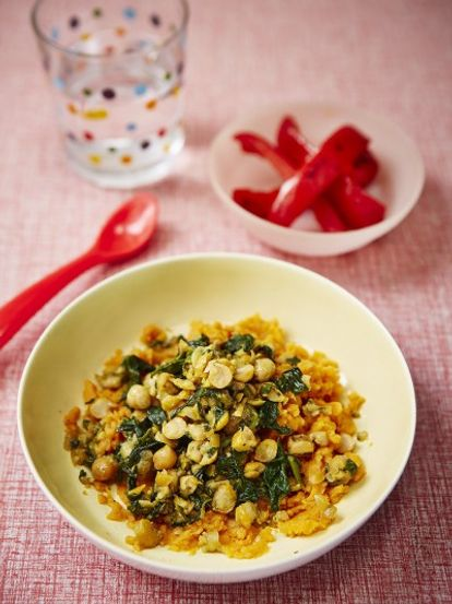 Helen's chickpea & spiced spinach smash with sweet potato